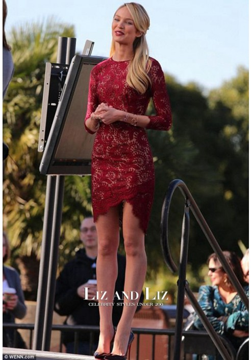 """Candice Swanepoel Short Red Lace Celebrity Cocktail Party Dress on """"Extra"""""""