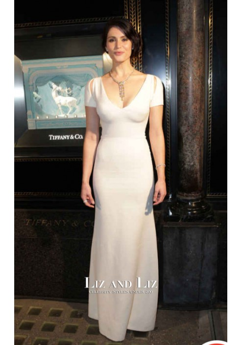 White Short-sleeve Cut-out Floor Length Formal Prom Celebrity Dress