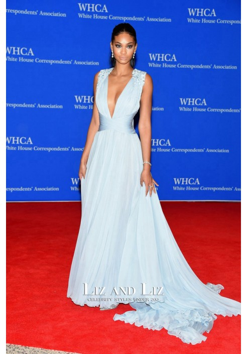 Chanel Iman Blue Plunging Chiffon Celebrity Dress 2015 White House Dinner