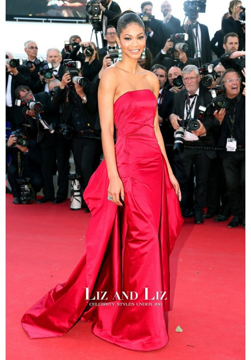 Chanel Iman Red Strapless Satin Prom Dress Cannes 2015 Red Carpet