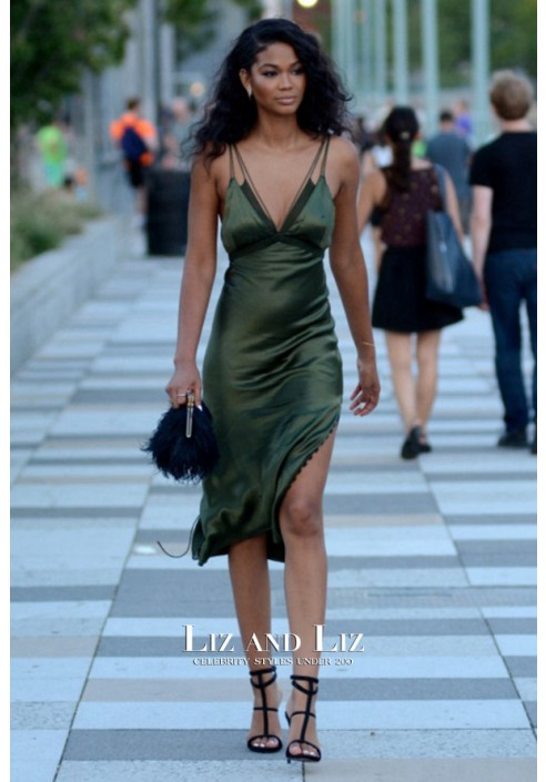 Chanel Iman Inspired Olive Green Satin Cocktail Party Celebrity Dress