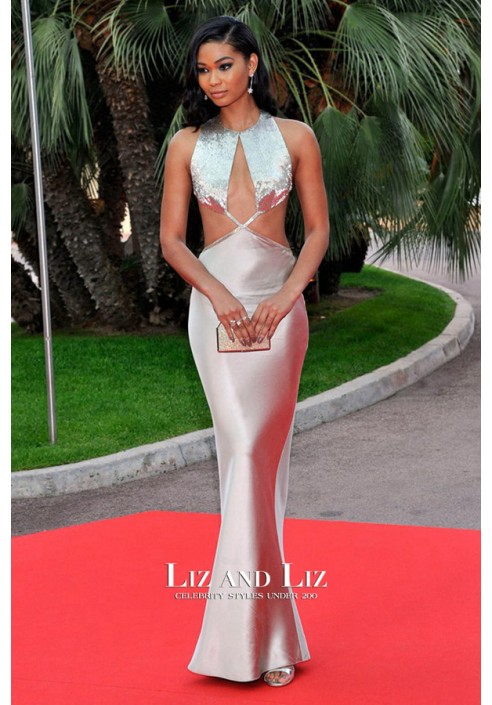 Chanel Iman Silver Cut-out Mermaid Celebrity Dress World Music Awards