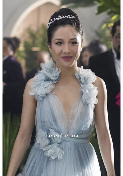 Constance Wu Blue Tulle Formal Prom Celebrity Dress in Movie 'Crazy Rich Asians'