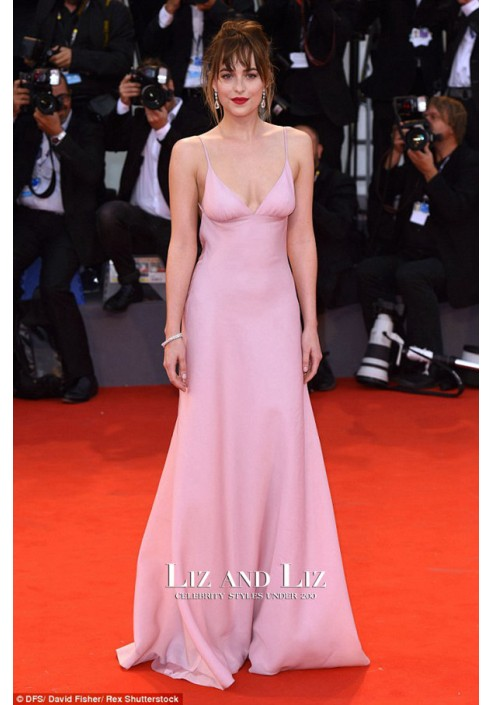 Dakota Johnson Pink Spaghetti Strap Backless Dress Venice Film Festival