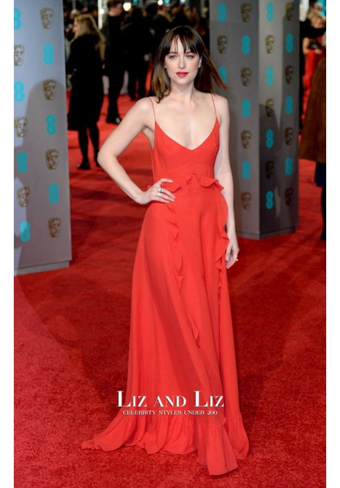 Dakota Johnson Red Spaghetti Strap Prom Dress BAFTA Awards 2016