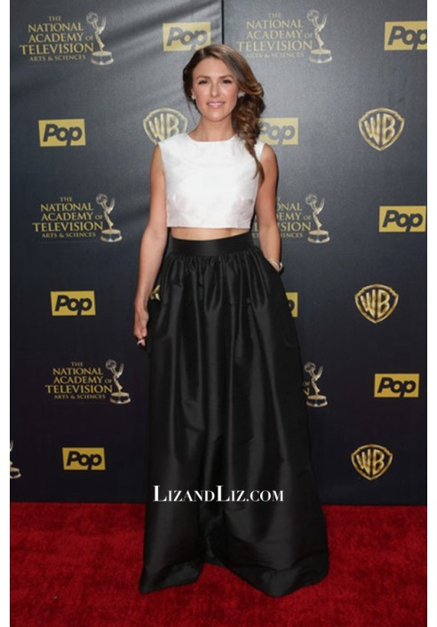 Elizabeth Hendrickson Black And White Two Piece Dress Daytime Emmys 2015