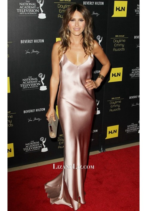 Elizabeth Hendrickson Rose Pink Satin Prom Celebrity Dress Daytime Emmys 2012