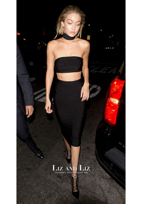 Gigi Hadid Black Two-piece Cocktail Celebrity Dress AMAs 2015 After Party