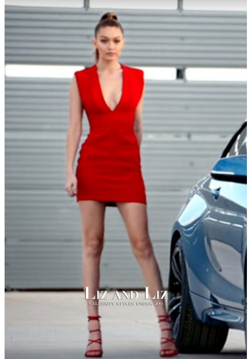 Gigi Hadid Inspired Short Red V-neck Cocktail Party Celebrity Dress BMW Ad