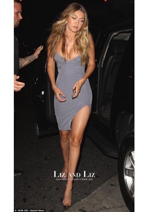 Gigi Hadid Inspired Grey Spaghetti Strap Cocktail Party Celebrity Dress