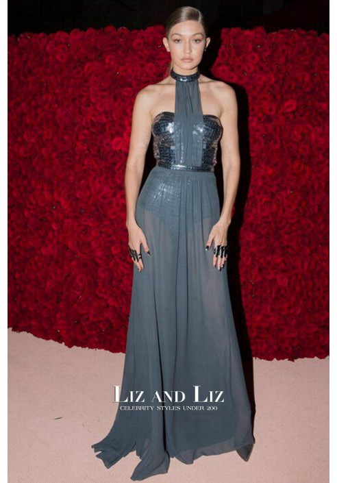 Gigi Hadid Grey Sequin Chiffon Celebrity Dresses Met Gala 2016 Red Carpet