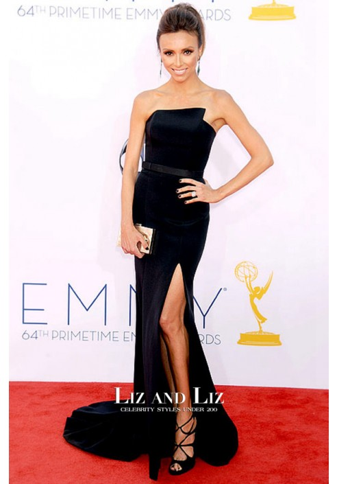 Giuliana Rancic Black Strapless Prom Dress Emmys 2012 Red Carpet