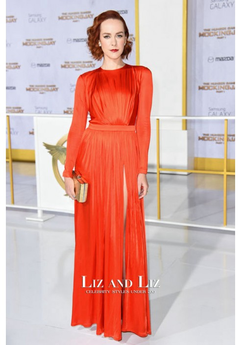 Jena Malone Red Long-sleeve Prom Dress The Hunger Games LA Premiere