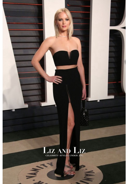Jennifer Lawrence Black Two-piece Dress Oscars 2016 Vanity Fair Party