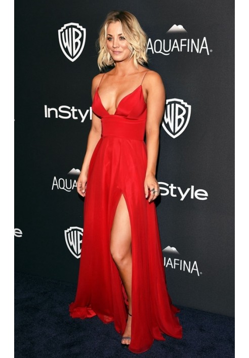 Kaley Cuoco Red Celebrity Prom Dress Golden Globes Party 2016 Red Carpet