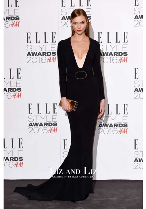 Karlie Kloss Black Long-sleeve Mermaid Prom Dress ELLE Style Awards 2016