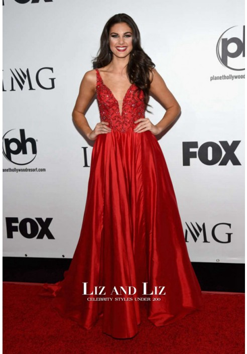 Katherine Haik Red Evening Prom Dress Miss Universe Pageant 2015
