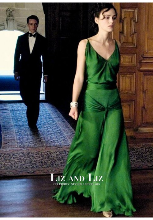 Keira Knightley Green Dress Movie Atonement Celebrity Evening Prom Gown