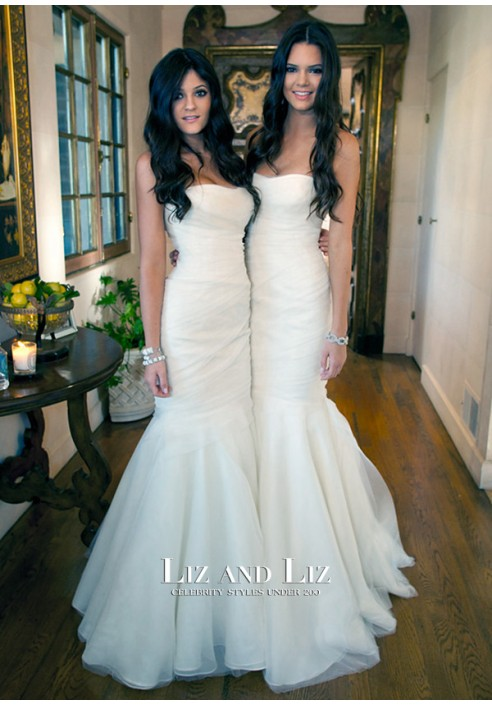 Kendall and Kylie Jenner White Strapless Mermaid Celebrity Bridesmaid Dress