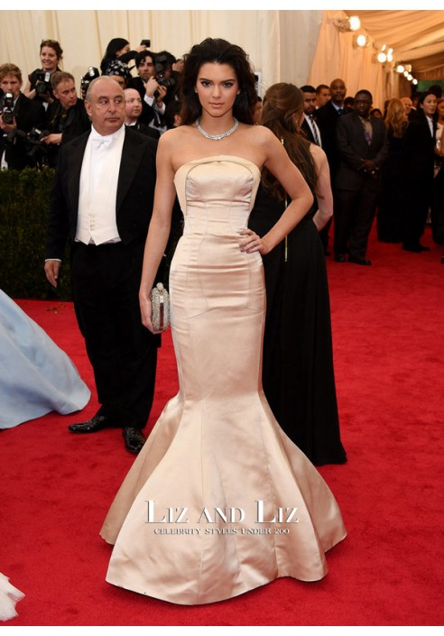 Kendall Jenner Champagne Strapless Mermaid Red Carpet Dress Met Gala 2014