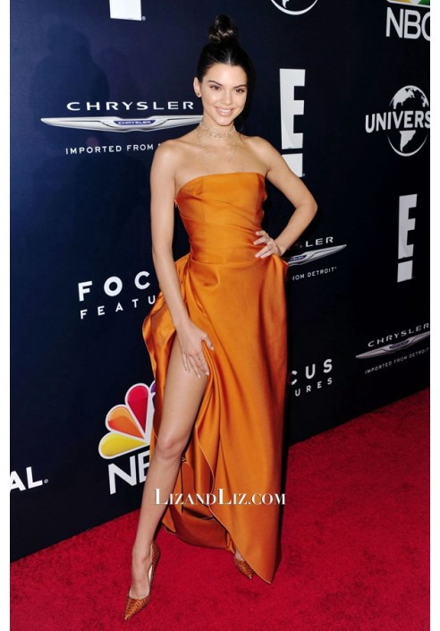 Kendall Jenner Orange Satin Prom Dress Golden Globes Party 2017 Red Carpet