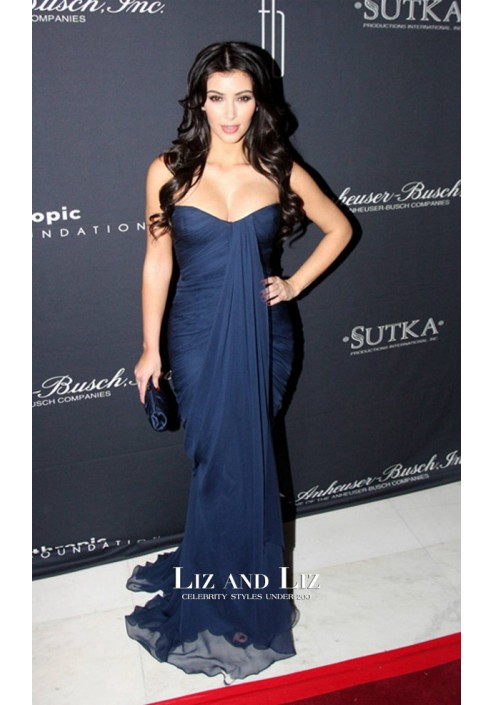 Kim Kardashian Navy Blue Strapless Draped Chiffon Dress Art For Life 2009