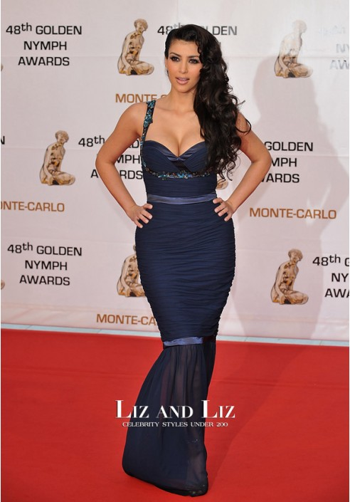 Kim Kardashian Navy Mermaid Celebrity Prom Dress Monte Carlo 2008