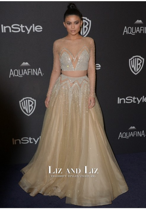 Kylie Jenner Champagne Two-piece Red Carpet Dress Golden Globes 2016 Party