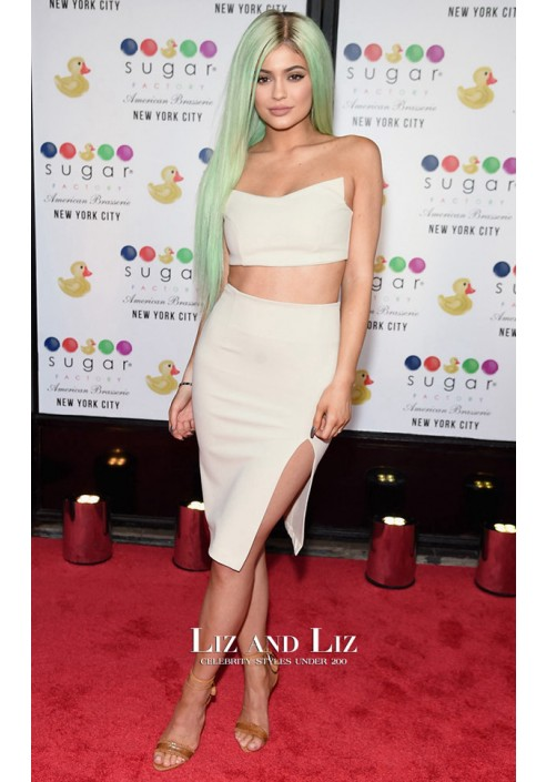 Kylie Jenner White Two-piece Cocktail Dress Sugar Factory Opening