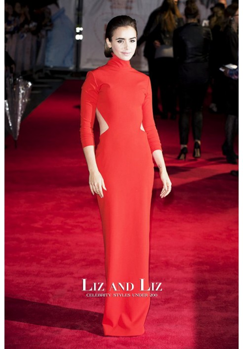 Lily Collins Red Cut-out Prom Dress Love Rosie London Premiere