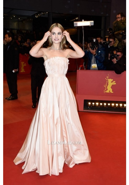 Lily James Pink Strapless Formal Prom Celebrity Dresses Berlin Film Festival