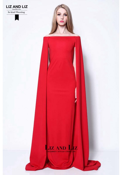 Lupita Nyong'o Red Prom Dress with Cape Golden Globes 2014 Red Carpet