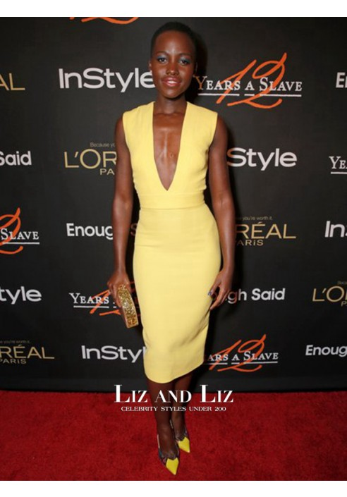 Lupita Nyong'o Yellow V-neck Celebrity Dress 12 Years A Slave Party