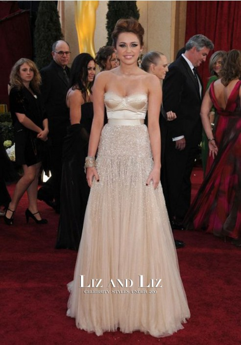 Miley Cyrus Champagne Strapless Red Carpet Gown 2010 Oscars Dresses