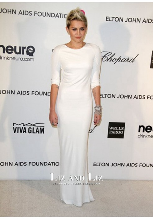 Miley Cyrus White Column Backless Gown 2013 Oscars Party Red Carpet Dress