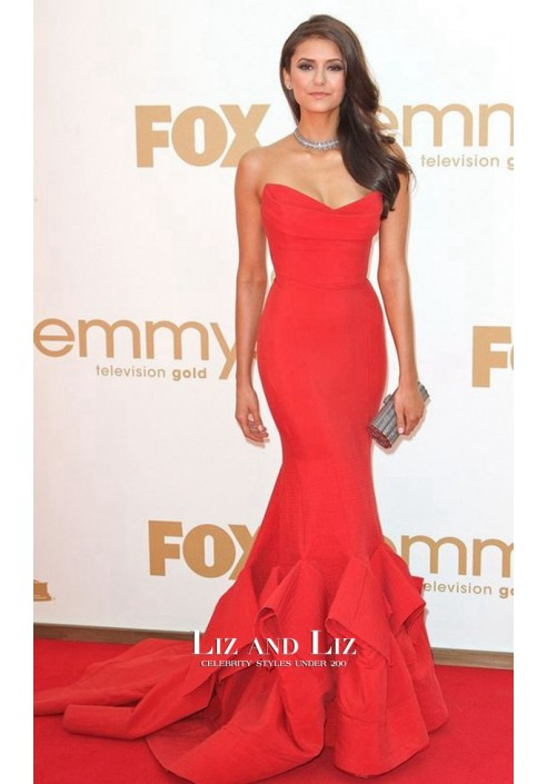 Nina Dobrev Red Strapless Mermaid Celebrity Dress Emmys 2011 Red Carpet