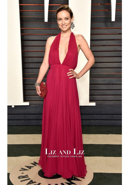 Olivia Wilde Fuchsia Halter V-neck Chiffon Dress Vanity Fair Oscars Party 2016