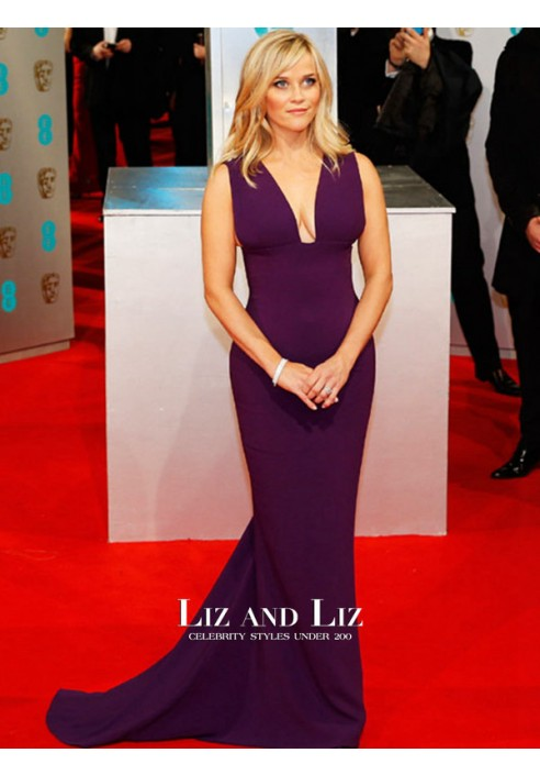 Reese Witherspoon Purple V-neck Red Carpet Dress BAFTA 2015