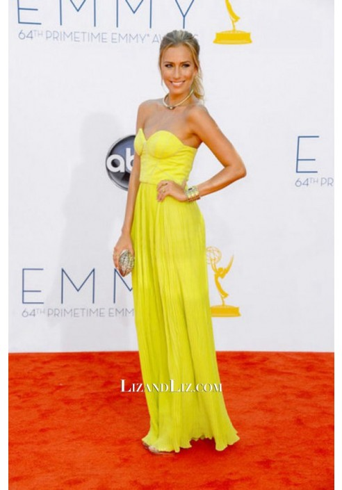 Renee Bargh Yellow Strapless Prom Dress Primetime Emmy Awards
