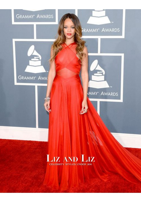 Rihanna Red Celebrity Dress For Prom Grammys 2013 Red Carpet Gowns