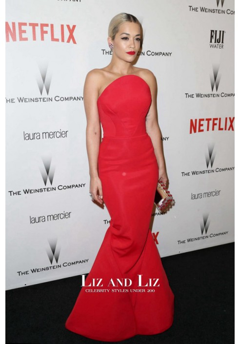 Rita Ora Red Strapless Mermaid Red Carpet Prom Dress Golden Globes 2015
