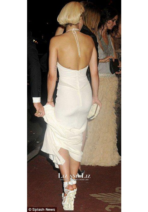 Rita Ora White Mermaid Chiffon Dress Bergdorf Goodman's 111th Anniversary