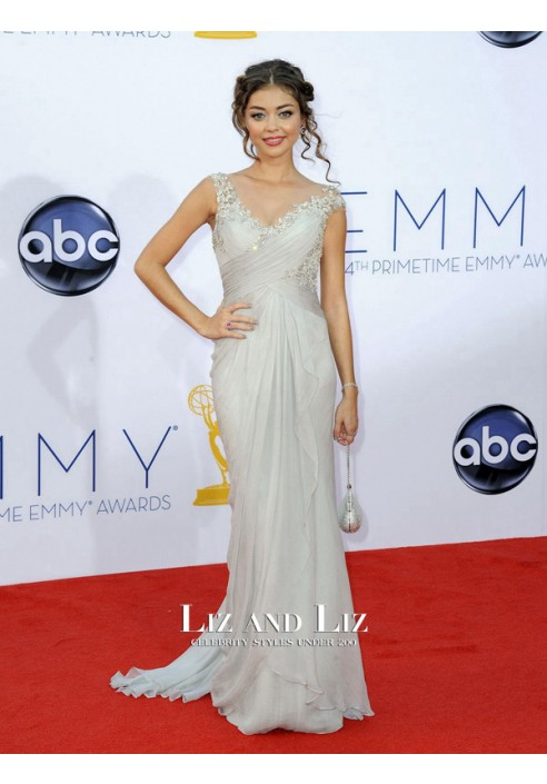 Sarah Hyland Grey Chiffon Celebrity Prom Dress Emmys 2012 Red Carpet