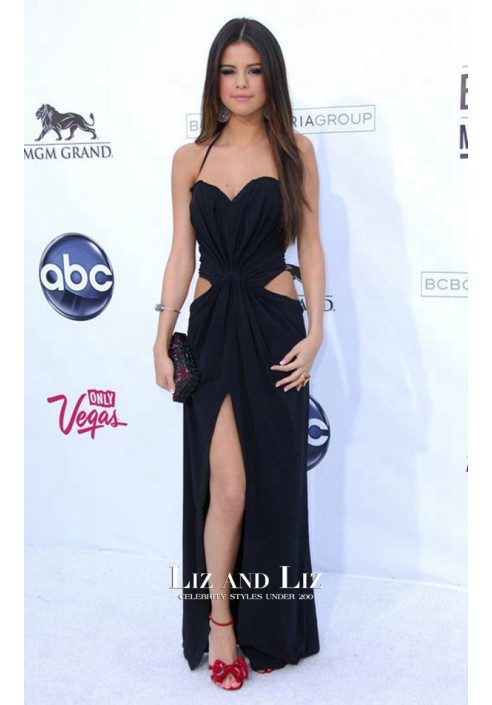 Selena Gomez Black Cut-out Red Carpet Dress 2011 Billboard Music Awards