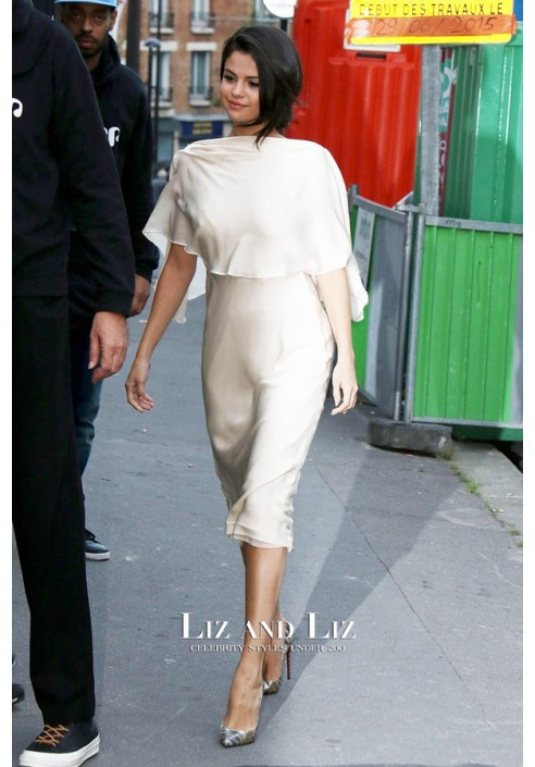 Selena Gomez White Backless Cocktail Party Celebrity Dress Out In Paris