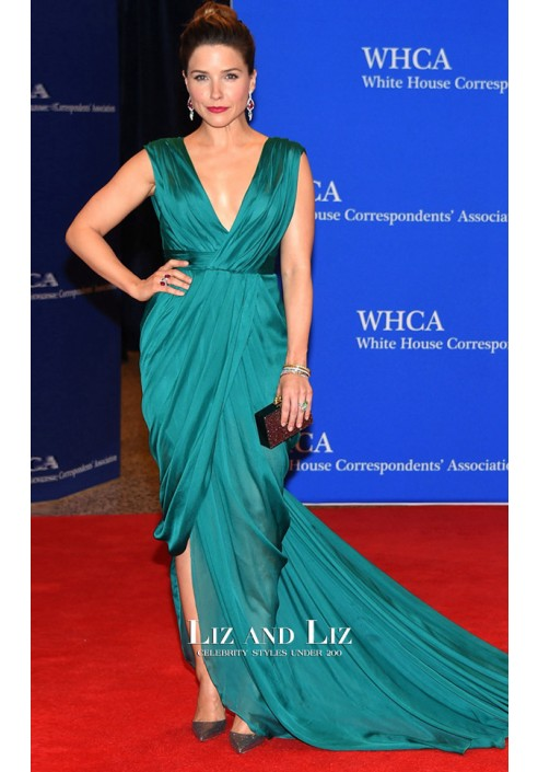 Sophia Bush Green Celebrity Dress 2015 White House Dinner Red Carpet