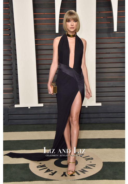 Taylor Swift Black Halter V-neck Backless Dress Vanity Fair Oscars Party 2016