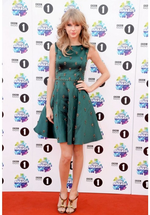Taylor Swift Short Green Cocktail Party Dress BBC Radio 1 Teen Awards