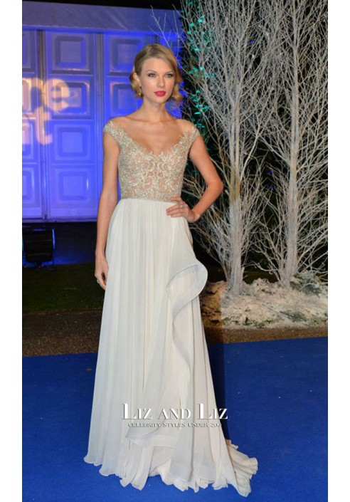 Taylor Swift White Embroidered Chiffon Celebrity Prom Dress Winter Whites Gala