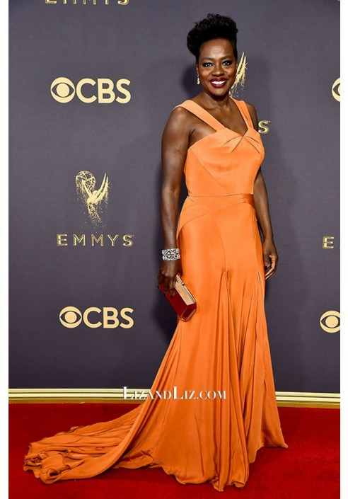 Viola Davis Orange Satin Celebrity Prom Dress Emmy Awards 2017 Red Carpet